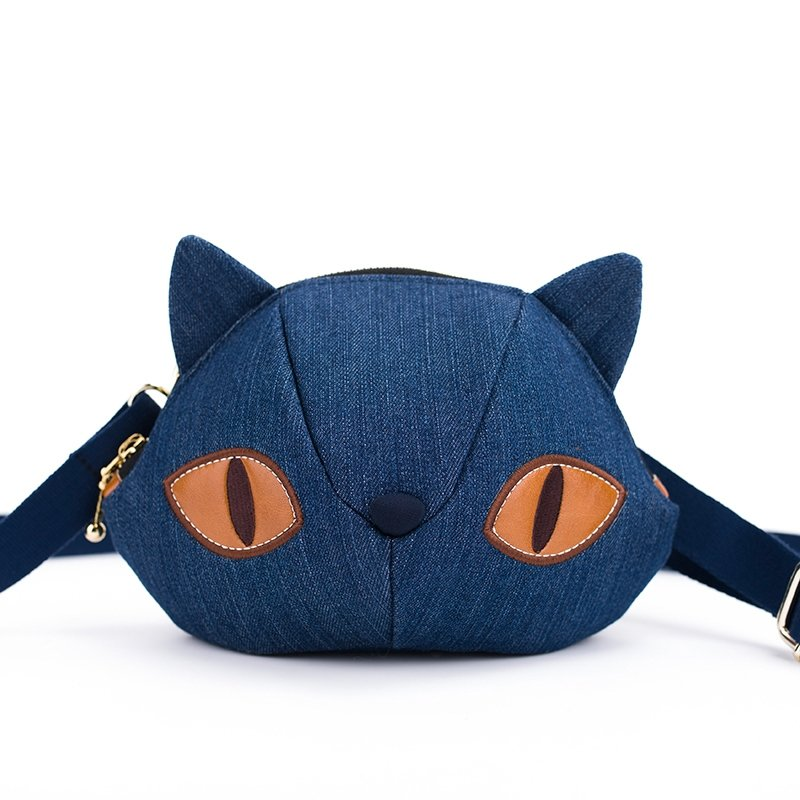 Denim Blue Quilted Jean Animal Themed Personalized Cat-shaped Girls Small Crossbody Bag Cartoon Sewing Pattern Casual Shoulder Bag