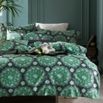Fluorescent Green and Black Medallion Pattern Vintage BOHO Style Old Fashion 100% Egyptian Cotton Full, Queen Size Bedding Sets