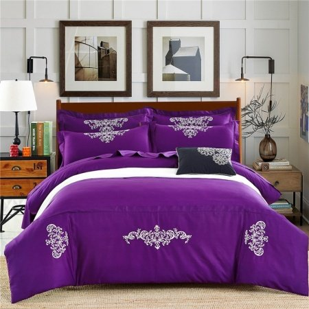 Dark Violet and White Tattoo Pattern Royalty Traditional Western Style Embroidered 100% Cotton Full, Queen Size Bedding Sets