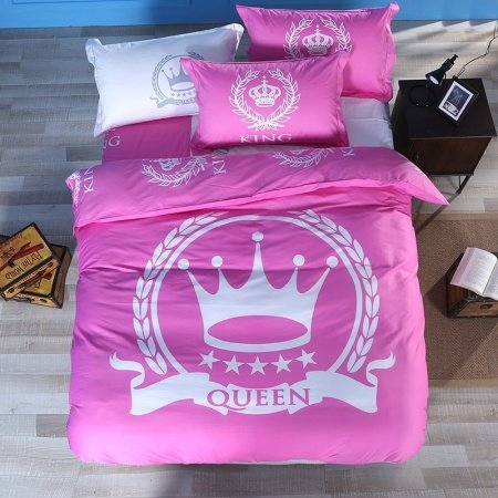 Girls Pink and White Medallion Crown Print Royal Style Fashion and Elegant Unique Design 100% Cotton Twin, Full, Queen Size Bedding Sets
