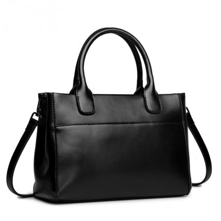 Luxury Solid Black Authentic Cowhide Leather Stylish Women Tote Simply Chic Casual Business Large Crossbody Shoulder Handle Bag