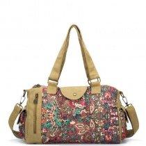 Coffee Brown Canvas Duffle Tote Bag Colorful Vintage Bohemian Western Flower Print Travel Bag Vogue Women Crossbody  Shoulder Bag
