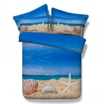 Sky Blue and Beige Seashell Print Beach Themed Holiday Style Tropical Hawaiian Twin, Full, Queen, King Size Bedding Sets