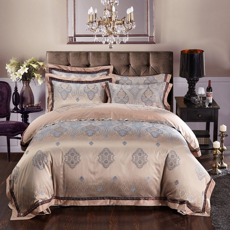Tan and Pale Blue Western Paisley Indian Pattern Moroccan Style Shabby Chic Luxury Jacquard Design Full, Queen Size Bedding Sets