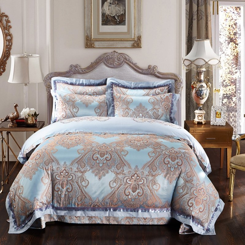 Light Blue And Brown Western Paisley Indian Pattern