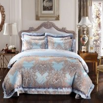 Light Blue and Brown Western Paisley Indian Pattern Moroccan Style Bohemian Chic Jacquard Design Full, Queen Size Bedding Sets