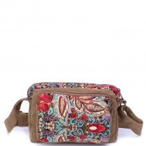 Colorful Durable Vintage Chic Canvas Casual Women Zipper Crossbody Bag Camel Brown Blue Red Bohemian Western Style Floral Shoulder Bag