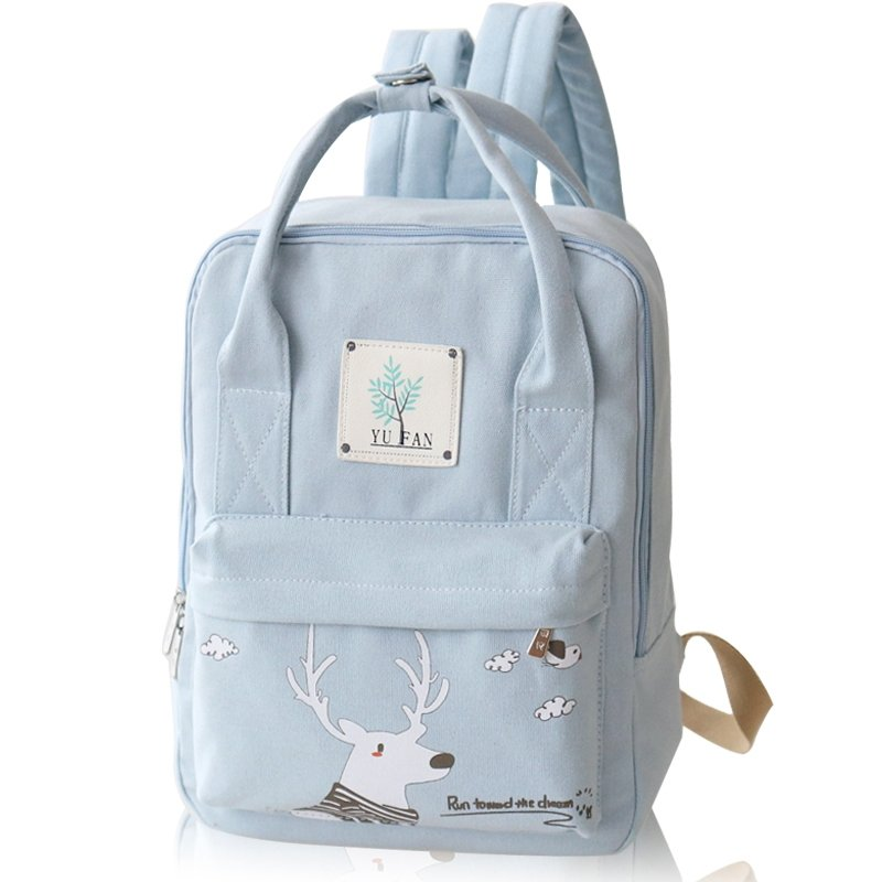 Light Blue Canvas White Christmas Deer S School Book Bag Cute Animal Casual Travel Hiking Sewing Pattern 13 Inch Laptop Backpack