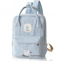 Light Blue Canvas White Christmas Deer Girls School Book Bag Cute Animal Casual Travel Hiking Sewing Pattern 13 Inch Laptop Backpack