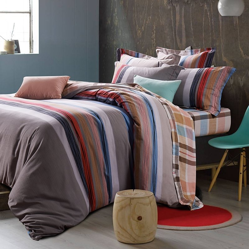 Brown Red Blue and Grey Preppy Style Old Fashion Shabby Chic Stripe Print 100% Brushed Cotton Full, Queen Size Bedding Sets