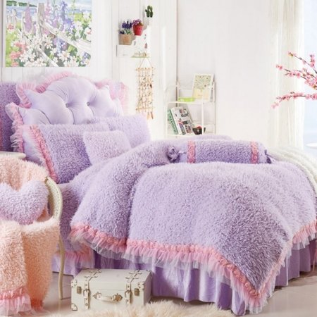 Girls Solid Lilac and Pink Lace Cute Girly Themed Elegant Modern Chic Luxury Flannel Twin, Full, Queen Size Bedding Sets