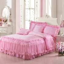 Solid Pink Girls Frilly Princess Style Modern Elegant Luxury Lace Edge 100% Polyester Full, Queen Size Bedding Sets