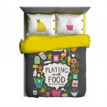 Golden Charcoal Gray Pink Green and White Food and Monogrammed Print Contemporary 100% Cotton Full Size Bedding Sets