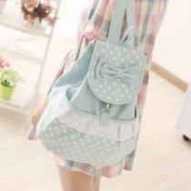 Light Blue White Canvas Ruffle Lace Cute Bow Girls Preppy School Book Bag Personalized Polka Dot Casual Travel Flap Drawstring Backpack