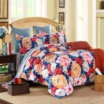 Royal Blue Red and Pink Blossom Print Garden Images Asian Country Oriental Style 100% Brushed Cotton Full, Queen Size Bedding Sets