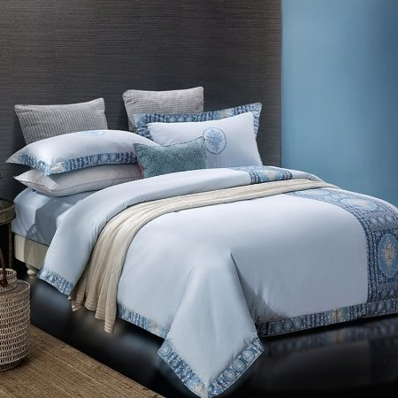 Pale Blue and Cerulean Indian Pattern Greek Key Inspired Modern Masculine Style 100% Cotton Damask Full, Queen Size Bedding Sets