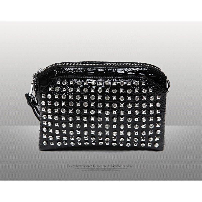 Black Patent Leather Western Bling Rhinestone Lady Evening Clutch Wristlet Gorgeous Embossed Crocodile Rivet Studded Crossbody Shoulder Bag