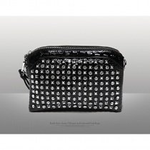 Black Patent Leather Western Bling Rhinestone Lady Evening Clutch Wristlet Gorgeous Embossed Crocodile Rivet Studded Crossbody Shoulder Bag