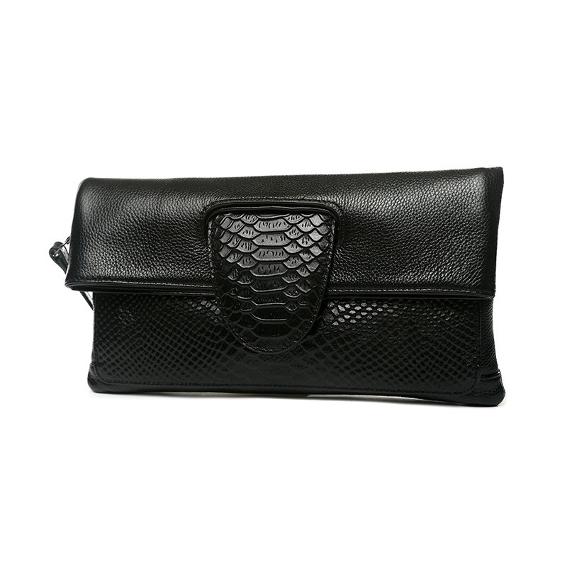Vintage Black Genuine Cowhide Leather Women Evening Party Clutch Gorgeous Embossed Crocodile Sewing Pattern Foldable Crossbody Shoulder Bag