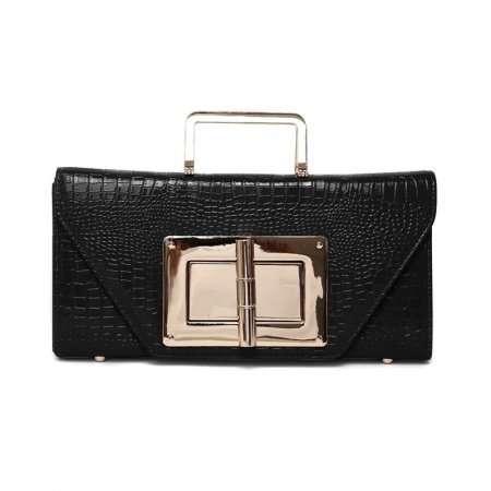 Black Embossed Crocodile Patent Leather Flap Envelope Evening Party Clutch Stylish Sequined Chain Strap Crossbody Shoulder Handle Bag