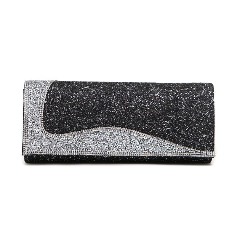 Vogue Black Rhinestone Studded Lady Casual Party Evening Clutch Personalized Magnet Buckle Chain Strap Small Flap Crossbody Shoulder Bag