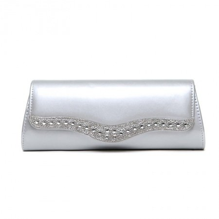 Gorgeous Silver Patent Leather Lady Flap Evening Party Clutch Personalized Rhinestone Studded Sewing Pattern Small Crossbody Shoulder Bag