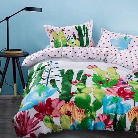 Forest Green Raspberry Red Blue and White Cactus Print Plant Vintage Natural Reversible 100% Cotton Twin, Full Size Bedding Sets