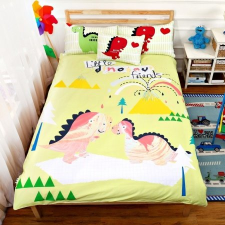 Cream Green Yellow and Pink Dinosaur Print Cartoon Themed Jungle Animal Themed 100% Cotton Twin, Full Size Bedding Sets for Kids