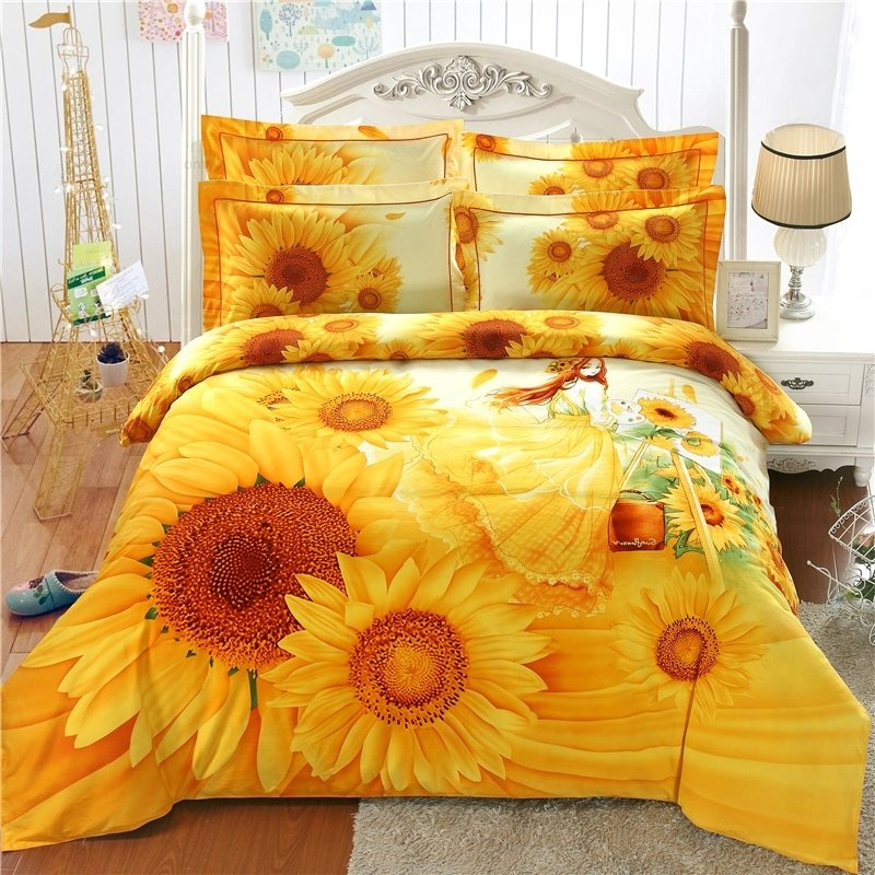 Orange Yellow and White Girl and Sunflower Print Princess Style Stylish and Elegant 100% Brushed Cotton Full, Queen Size Bedding Sets