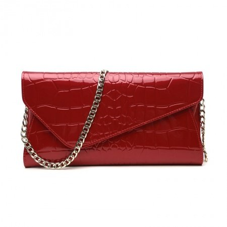 Durable Red Cowhide Leather Embossed Alligator Women Evening Party Clutch Gorgeous Sewing Pattern Chain Flap Crossbody Shoulder Bag