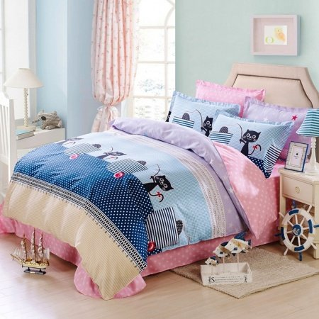 Girls Deep Blue Pink and Black Cat Print Polka Dot Design Cute and Stylish Cartoon Themed 100% Cotton Twin, Full Size Bedding Sets