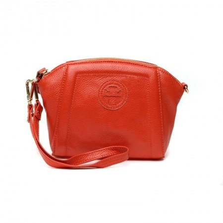 Tangelo Orange Genuine Cowhide Leather Women Evening Clutch Wristlet Stylish Sewing Pattern Casual Party Shell Crossbody Shoulder Bag