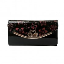 Durable Black Patent Leather with Coral Flower Lady Flap Envelope Evening Clutch Gorgeous Magnetic Closure Chain Crossbody Shoulder Bag