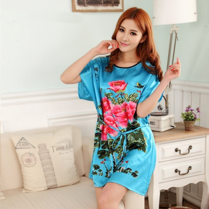 Blue Red Green Peony Flower Print Sexy Elegant One Piece Dress Free Size Girls Pajamas