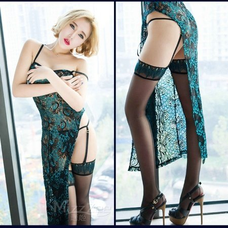 Peacock Pattern 3 Pieces See-through Sexy Lingerie Girls Free Size Pajamas Gown + G-string + Silk Stockings