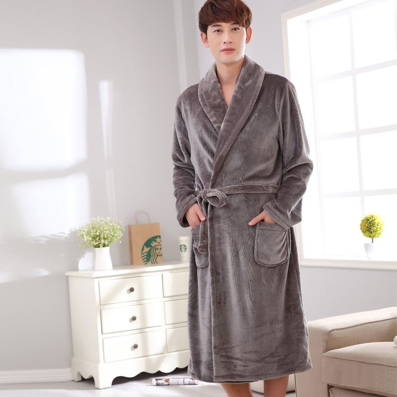 Solid Grey Long Sleeve Wrap Robe Luxurious Pajamas for Men L XL XXL XXXL