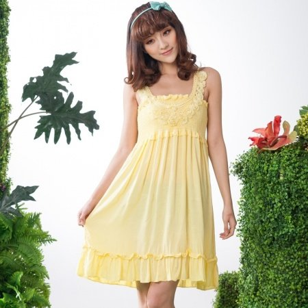 100% Cotton Knit Yellow 3D Flower Ruffled Falbala and Flouncing Sleeveless Dress Elegant Princess Pajamas for Girls M L XL XXL