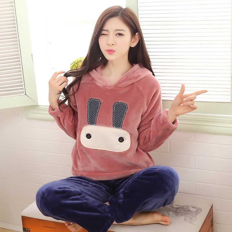 Cartoon Rabbit Bunny Flannel 2pc Hooded Candy Pink Shirt and Blue Trousers Cute Pajamas for Girls M L XL XXL