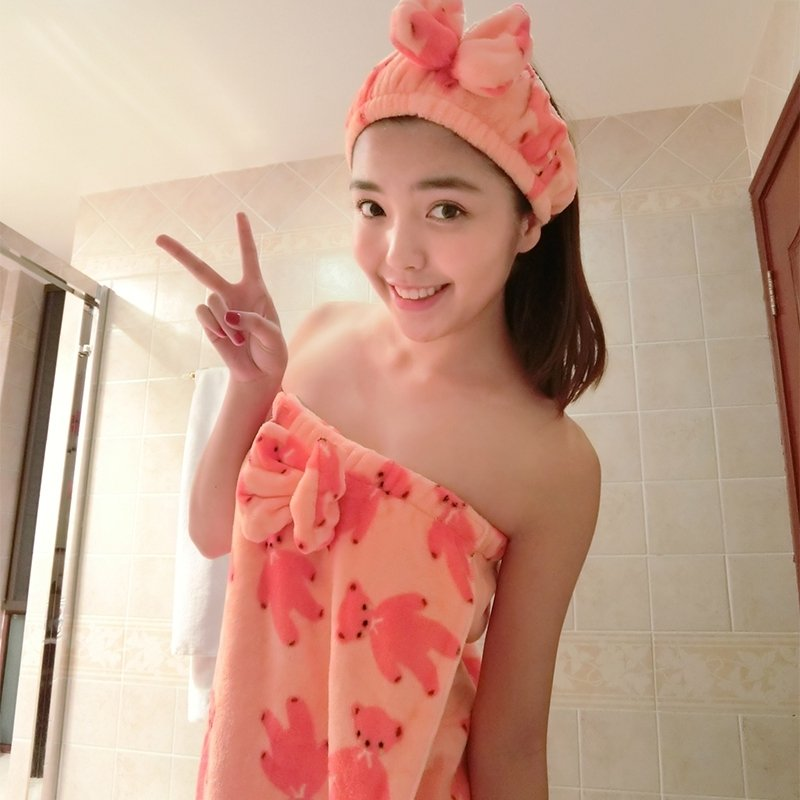 Pink Red Flannel Bear Print Bowknot Sweet Sexy Free Size Bath Towel Pajamas