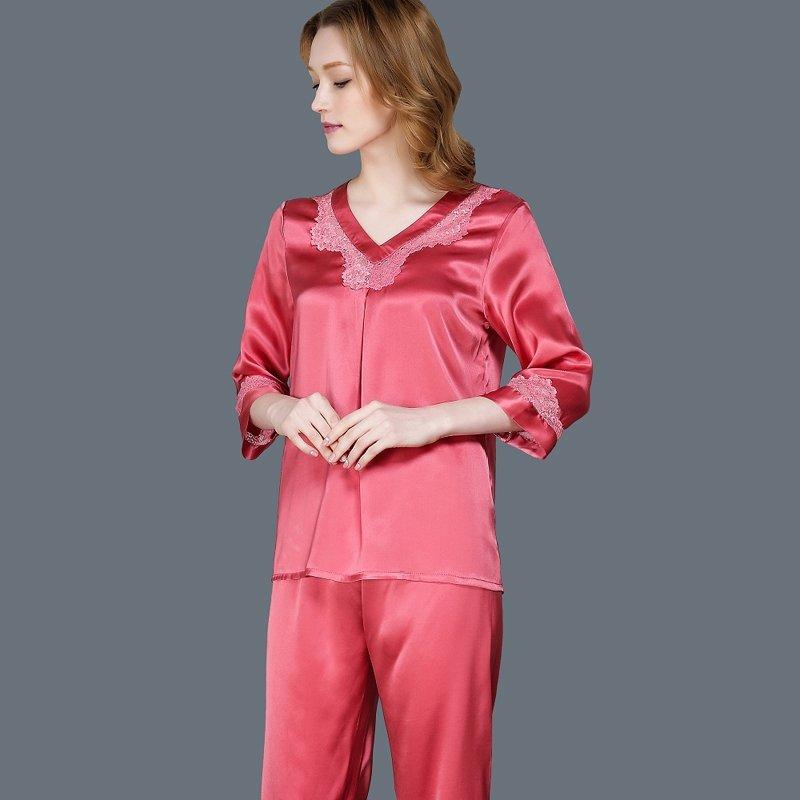 Wild Watermelon 100% Pure Silk 2 Pieces Elegant Gorgeous Pajamas for Feminine Girly M L XL