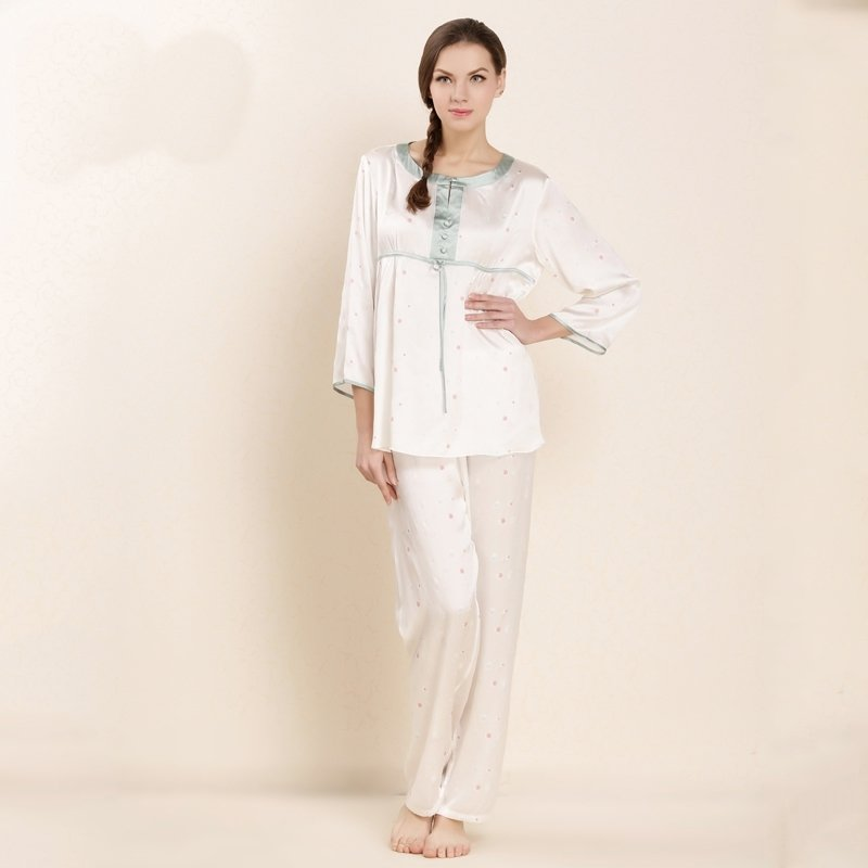 100% Pure Silk Vintage Style Pajamas for Feminine Girly M L XL XXL