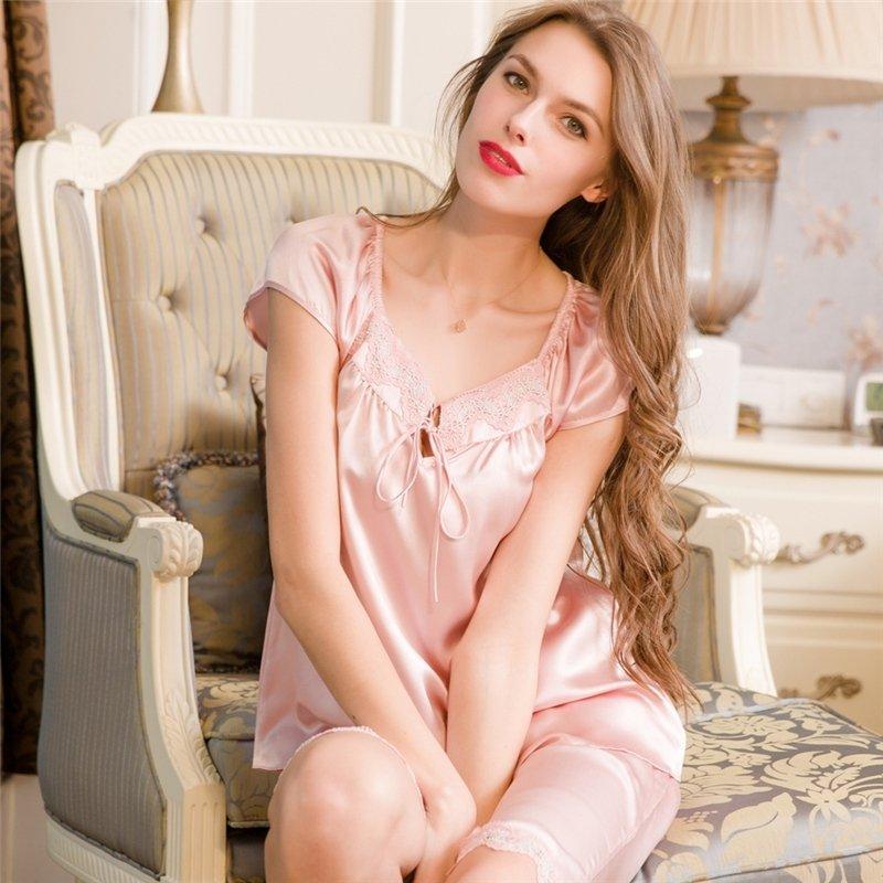Plain Pale Pink 100% Chinese Silk Sweet Silky Pajamas for Feminine Girly M L XL