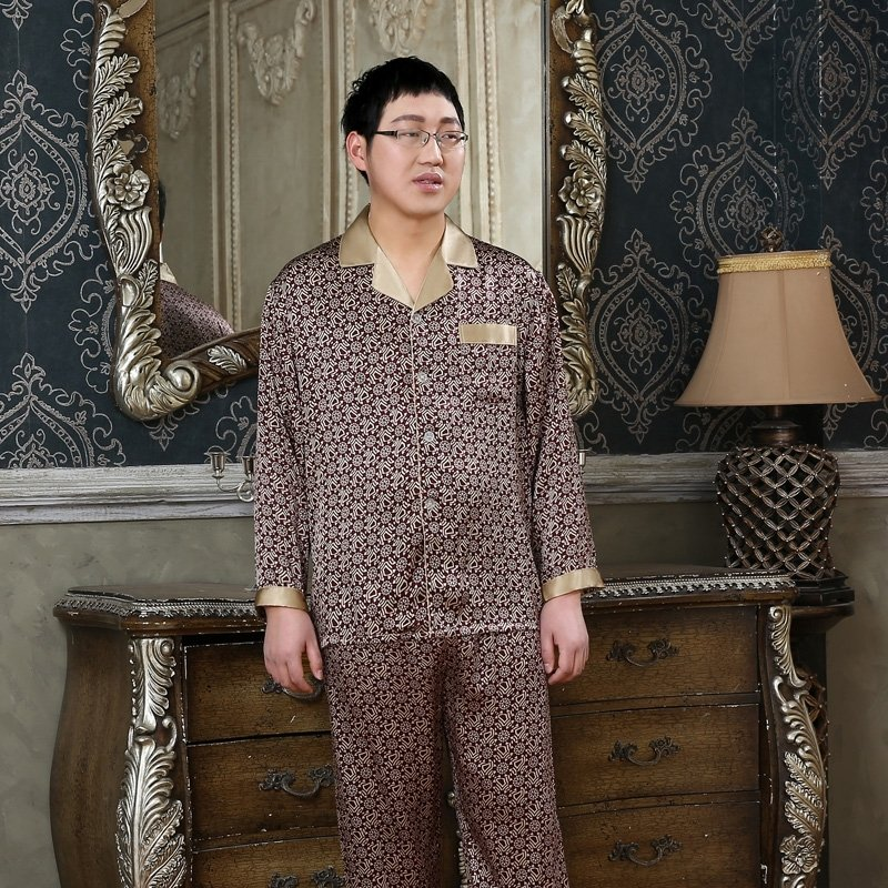 Umber 100% Pure Silk Long Shirt and Full Pants Comfortable Breathable Luxury Pajamas for Men L XL XXL