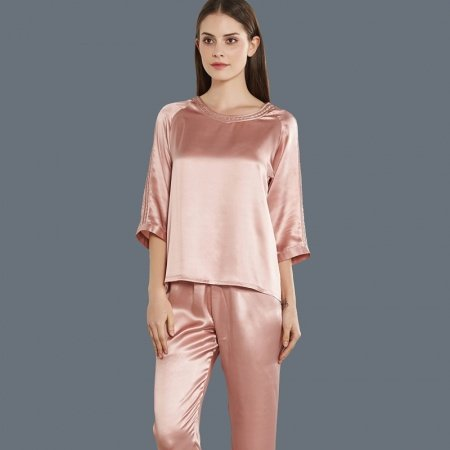 Pink 100% Pure Silk Luxury 2pc Pajama Set for Women M L XL
