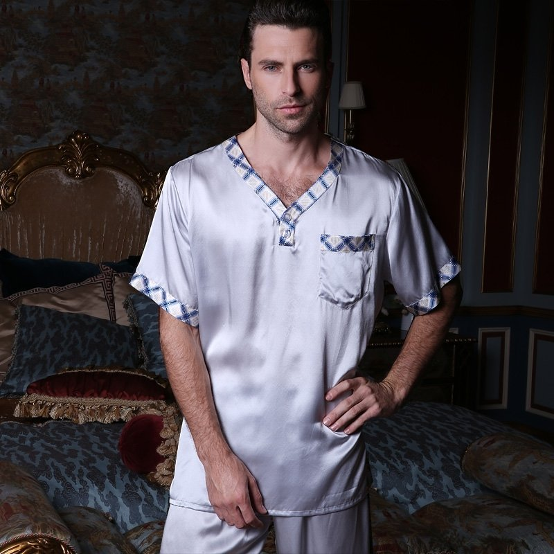 Grey 100% Pure Silk Summer Pajamas for Men XL XXL