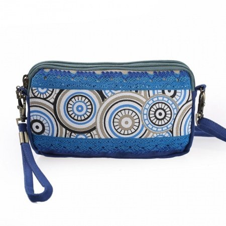 Bohemian Hippie Style Blue Canvas Women Small Evening Clutch Wristlet Personalized Embroidered Moroccan Ethnic Crossbody Shoulder Bag