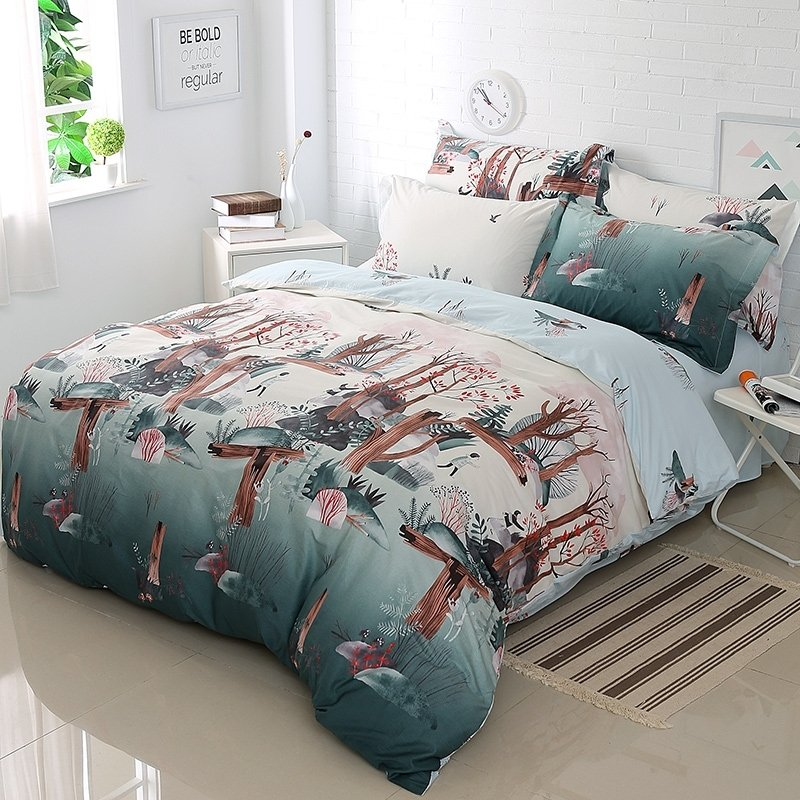 Cadet Gray Redwood Brown and White Tree Print Shabby Chic Natural Fall Scene Rustic Style 100% Cotton Full, Queen Size Bedding Sets