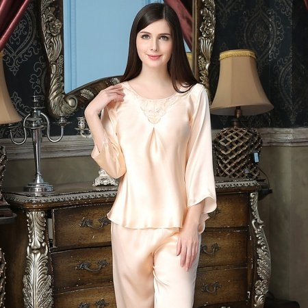 Desert Sand 100% Nature Silk 2 Pieces Crewneck with Embroidered Jacquard Trim Shirt and Pants Luxury Pajamas M L XL XXL