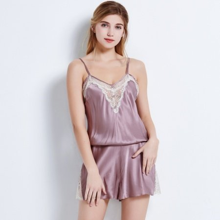 Pastel Purple 100% Nature Silk 1 Piece Onesies Romper Shorts Pajamas for Feminine Girly M L XL