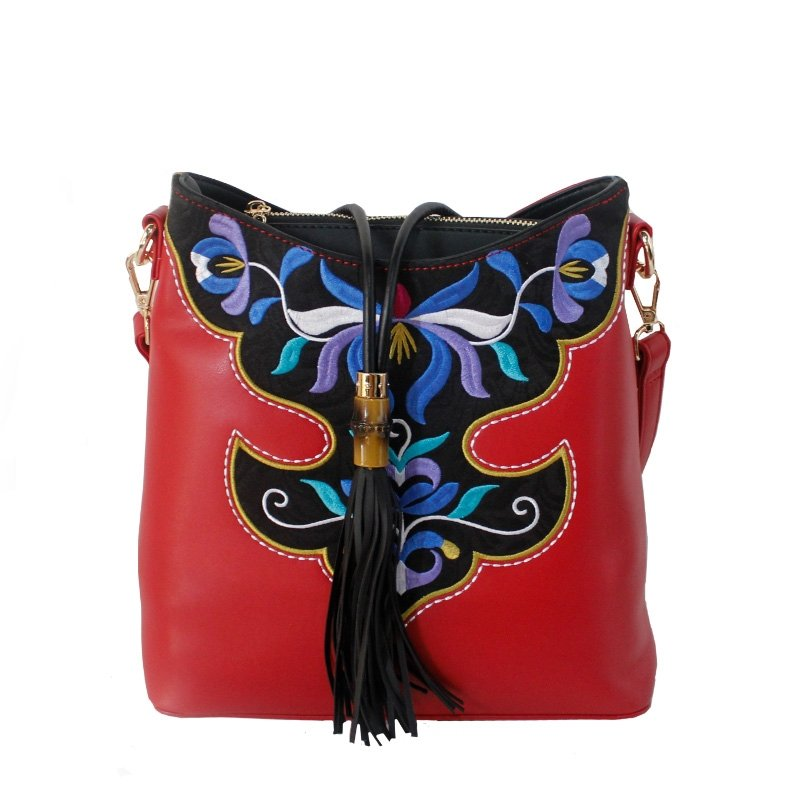 Bohemian Red Patent Leather Tassel Women Messenger Crossbody Shoulder Bag Vintage Folklore Vector Flower Embroidered Crescent Hobo Bag